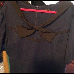 Cute eshakti blue and black polkadot dress w/ bow